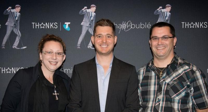 Jodie, Michael Buble and Greg.